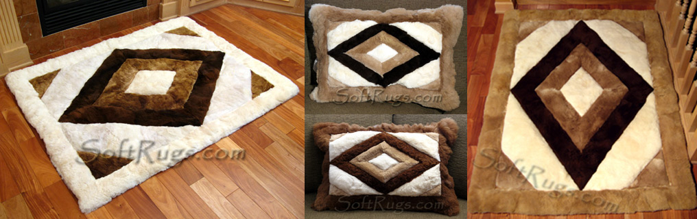 Assorted pictures of Rhombus pattern alpaca rugs and pillows