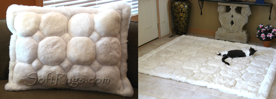 White Puffs Alpaca Pillow and Rug