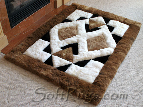 Modern Aztec Pattern Alpaca Rug by Fireplace