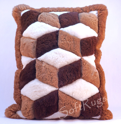 Cubic Illusion Alpaca Fur Pillow