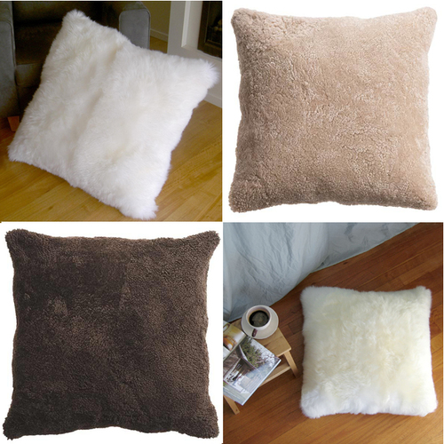 Single-Sided Square Floor Cushions in Curly Zealamb or Longwool