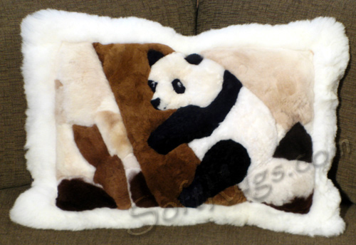 Panda in Tree Pattern Alpaca Pillow with White Border