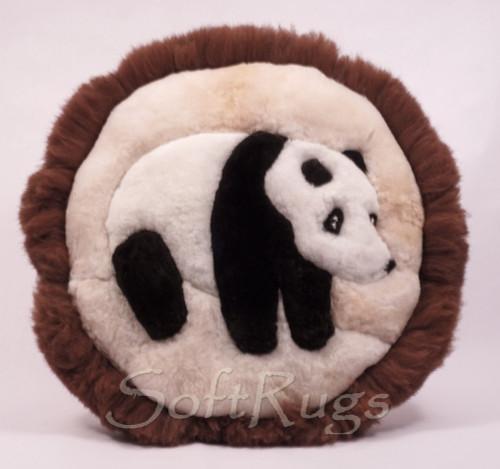 Giant Panda Alpaca Fur Pillow in Baby Alpaca
