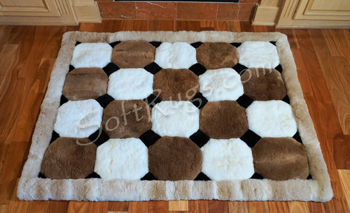Colored Puffs Pattern Alpaca Fur Rug (Most Sizes Now 20% Off!) (Out of stock on 2ft8 x 4ft & 6ft x 7ft)