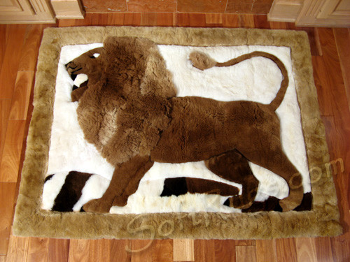 Standing Lion Alpaca Fur Rug (5ft5x6ft8 only, in stock - On Sale Now!!)