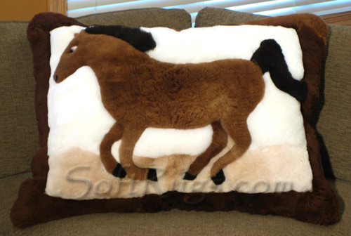 Brown Running Horse Pattern Alpaca Pillow