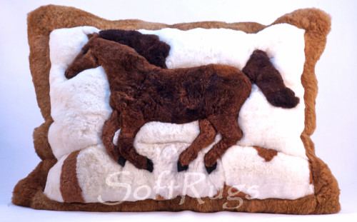 Running Horse Alpaca Fur Pillow