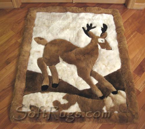 Running deer Pattern Alpaca Rug