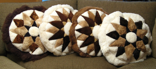 Starburst Pattern Round Alpaca Pillow in Assorted Color Variations