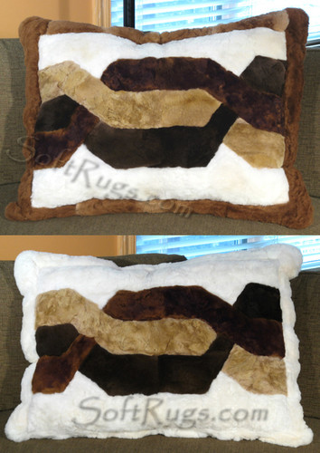 2 Trenza Pattern Alpaca Pillow Covers with Dark Brown and White Borders