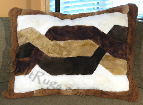Dark Brown Border Trenza Alpaca Pillow Cover