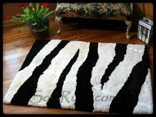 Zebra Stripe Pattern Alpaca Rug