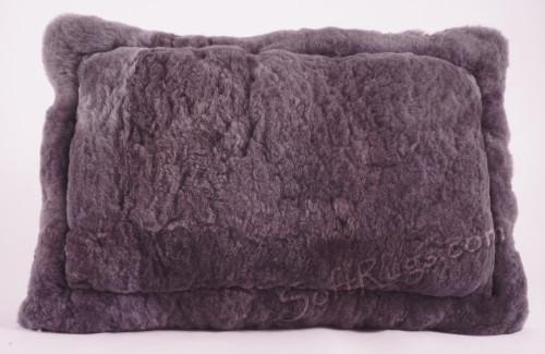 Solid Gray Alpaca Fur Pillow