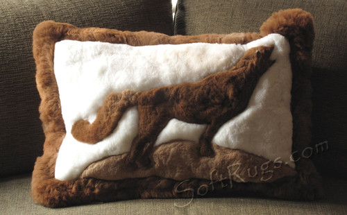 Howling Wolf Alpaca Fur Pillow (Out of stock)