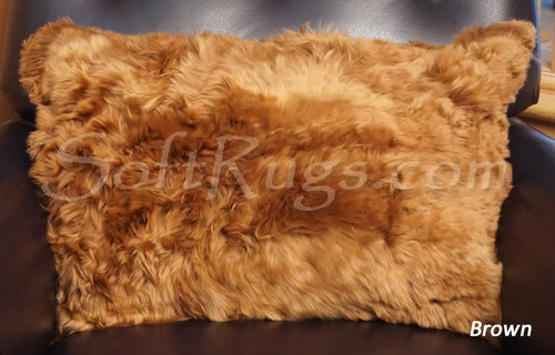 16 x 24 Suri Alpaca Solid Brown Pillow Cover