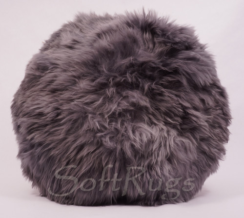 20in Round Suri Alpaca Fur Pillow in Cool Gray