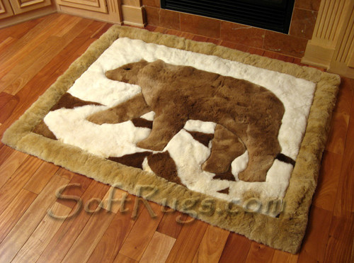 Brown Bear Alpaca Fur Rug  in Baby Alpaca