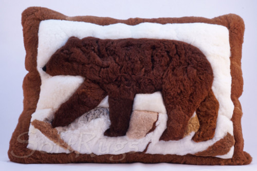 Brown Bear Alpaca Fur Pillow