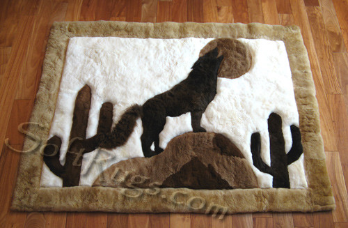 Coyote and Full Moon Alpaca Fur Rug (Out of Stock)