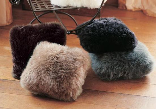 Double-Sided 14 inch Square Sheepskin Accent Pillows