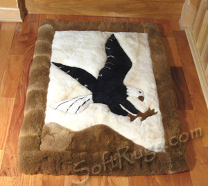 Landing Eagle Alpaca Rug in front of stairs.