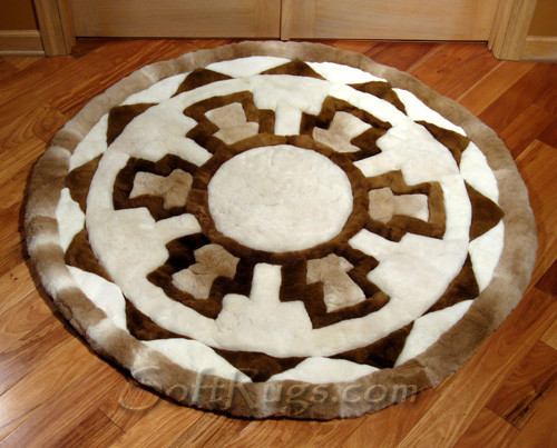 Greek Key pattern Round Alpaca Fur Rug in front of Study Doors