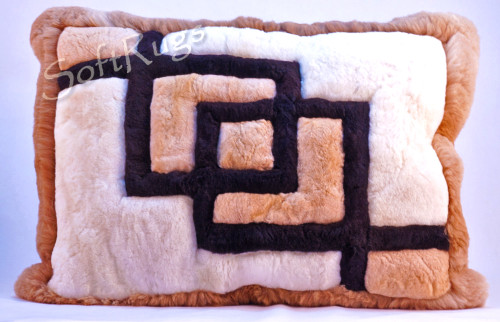 Interlocking Squares Alpaca Fur Pillow (Out of Stock)