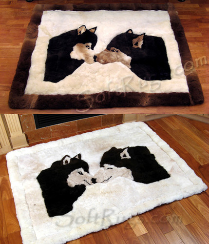 Kissing Wolves Pattern Alpaca Rug