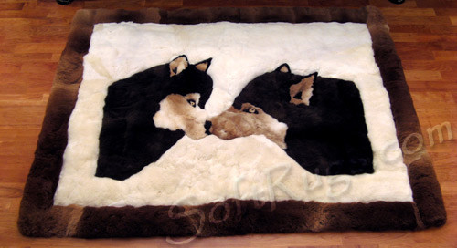 Kissing Wolves Alpaca Fur Rug (SPECIAL ORDER ONLY)