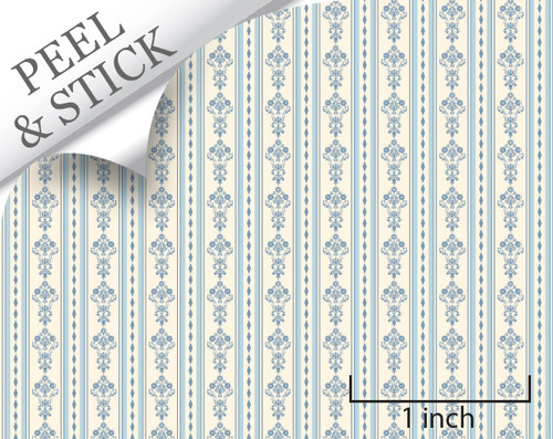 Bouquet Stripe, Blue. 1:48 quarter scale peel and stick wallpaper