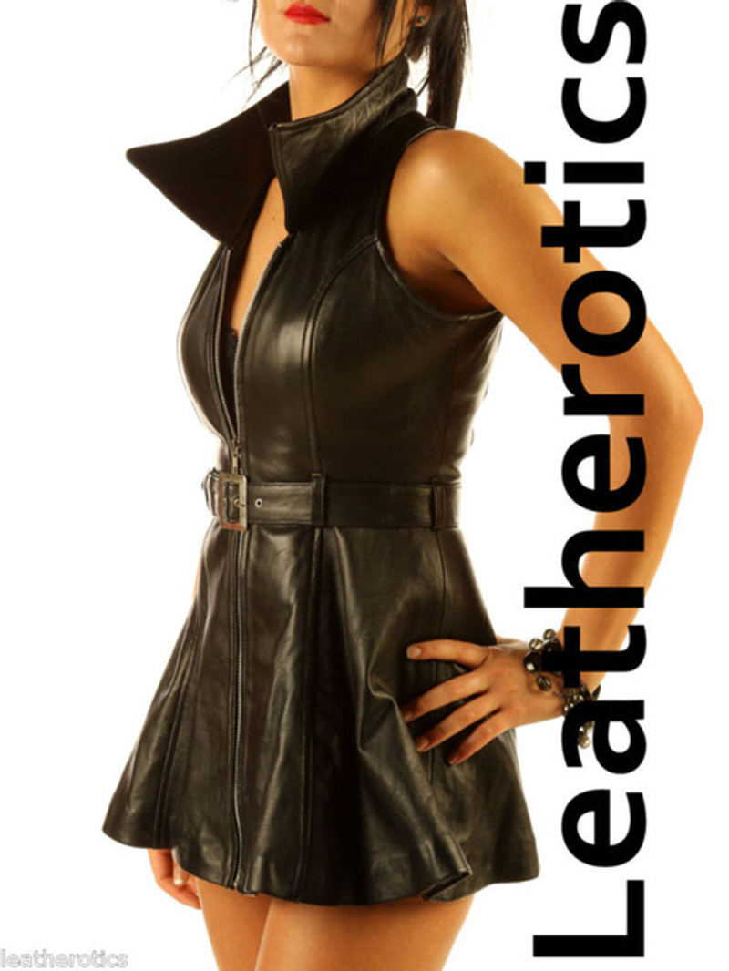 collared leather dress