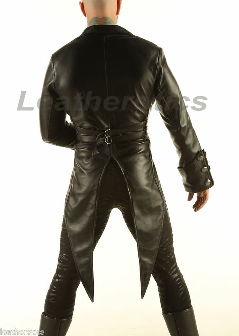 Full Grain Leather Tailcoat Gothic Steampunk Morning Dress Suit Coat STPGL