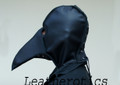 Plague Doctor Mask hood LEATHER Black costume