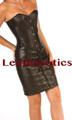 Steel Boned black Leather Corset Dress