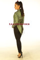Ladies Tail Coat Victorian Flock Steampunk Jacket Green STP2
