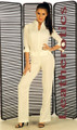 Tight Suit off white nude linen cotton Catsuit Jumpsuit playsuit
