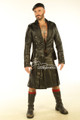 Mens Leather Kilt and Top jacket Full Grain Leather Scottish Irish Clothing