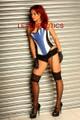 blue leather corset