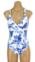 "195 Halter One Piece With Soft Cups Criss Cross Back ""Blue Hawaii"" NNY NWI"