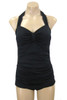 178 Black Solid Retro One Piece Front