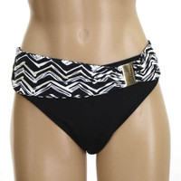 Ethnic Chevron Belted Botton with decrotive Buckle Fuller Cut Bikini