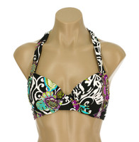 "TW29 HALTER UNDERWIRE BRA WITH FOAM CUPS ""FLORAL SAFARI"" SLK"