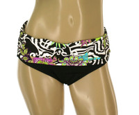 "BW76 Wasitband with Shirred Sides Bikini Bottom ""FLORAL SAFARI"" SLK"