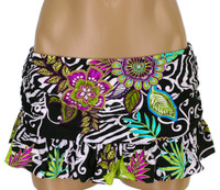 "BK22 Shirred Side Ruffled Skirted Bottom ""Floral Safari "" SLK"