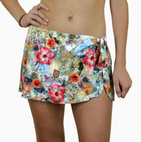 "BK27 Bikini With Detatchable Tie Side Sarong Skirt ""Greetings from Bermuda"" QOB"