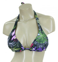 D-DD-F CUP TRIANGLE HALTER TOP WITH REMOVABLE SOFT CUP 5BK