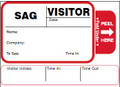 Self Expiring Visitor Label Book with Time In Time Out Tab Sample