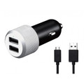 Just Mobile Highway Max - dual USB aluminium finish car charger with coiled micro USB cable