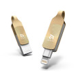 Adam Elements iKlips Duo+ Apple Lightning and USB 3.1 Flash drive - backup, playback video, audio and more - iPhone or iPad, 128GB, Gold