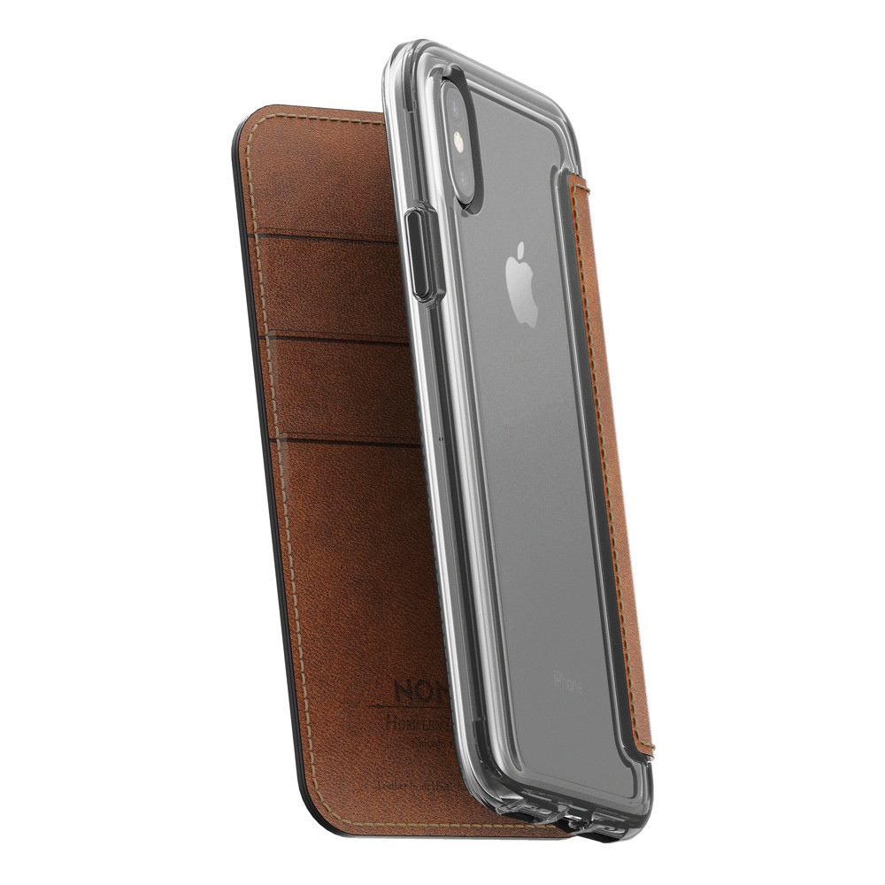 save off 1f5f6 3b97f Nomad Horween Leather Clear Wallet Folio case - iPhone X/XS, Rustic Brown